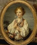Young shepherd holding a flower by Jean-Baptiste Greuze